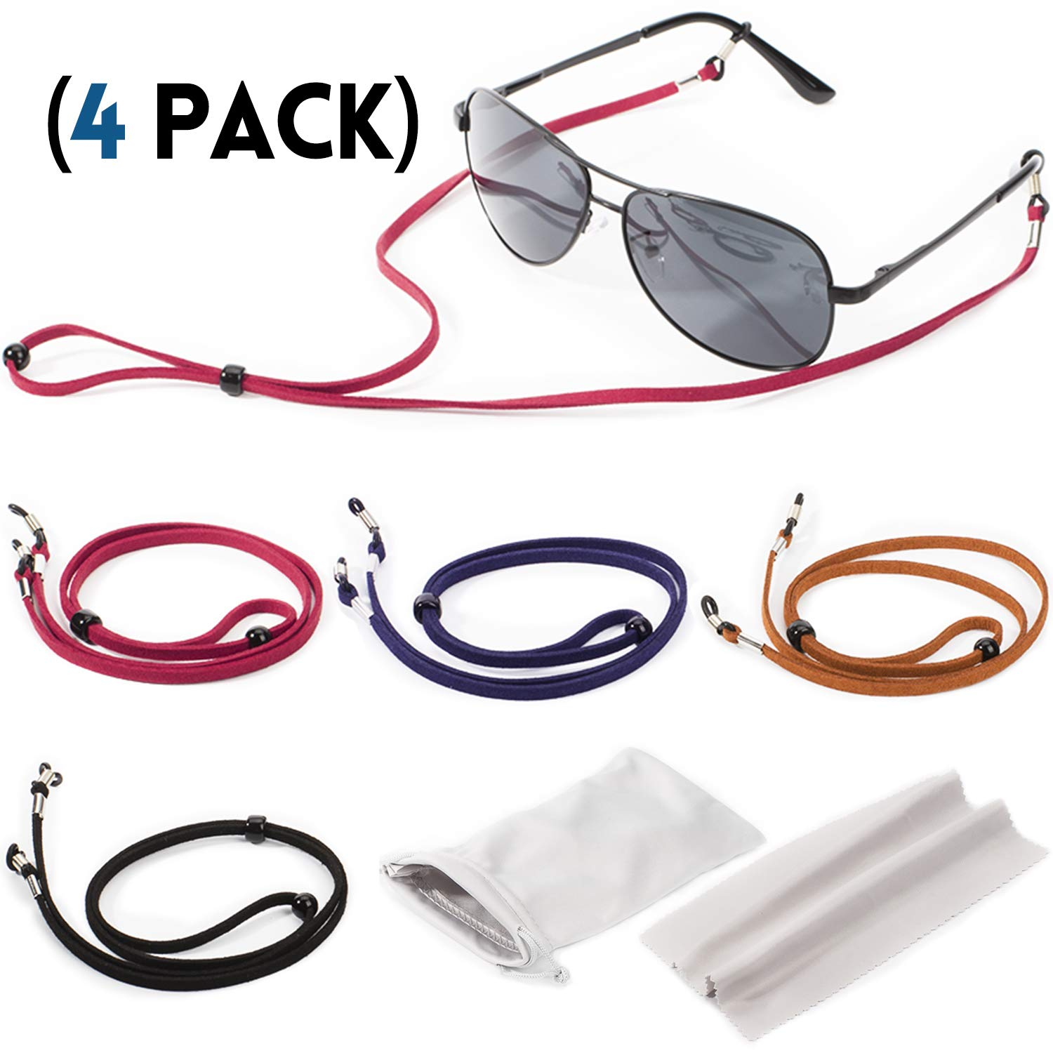 Eyeglasses Holder Strap Cord with Suede Leather Eyeglass Retainer with 2 Gifts Glasses Bag and Cloth DEZAMN