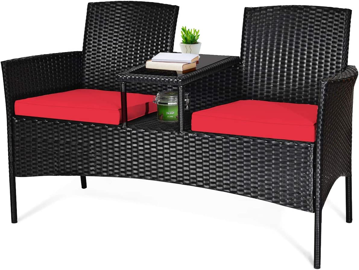 Tangkula Wicker Patio Conversation Furniture Set, Outdoor Furniture Set with Removable Cushions & Table, Tempered Glass Top, Modern Rattan Sofas Set for Garden Lawn Backyard (Red)