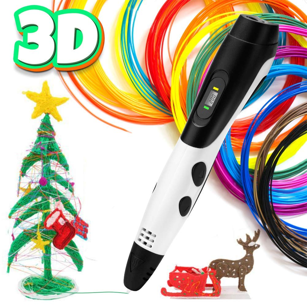 3D Pen - Intelligent 3D Printing Pen with LCD Screen, Compatible with 1.75mm PLA & ABS Filament Refills, 3D Pen for Kids Adults Artist Crafting Art Model DIY Gift, Pack of 12 Colors, 3M / Each (Black) ARIA