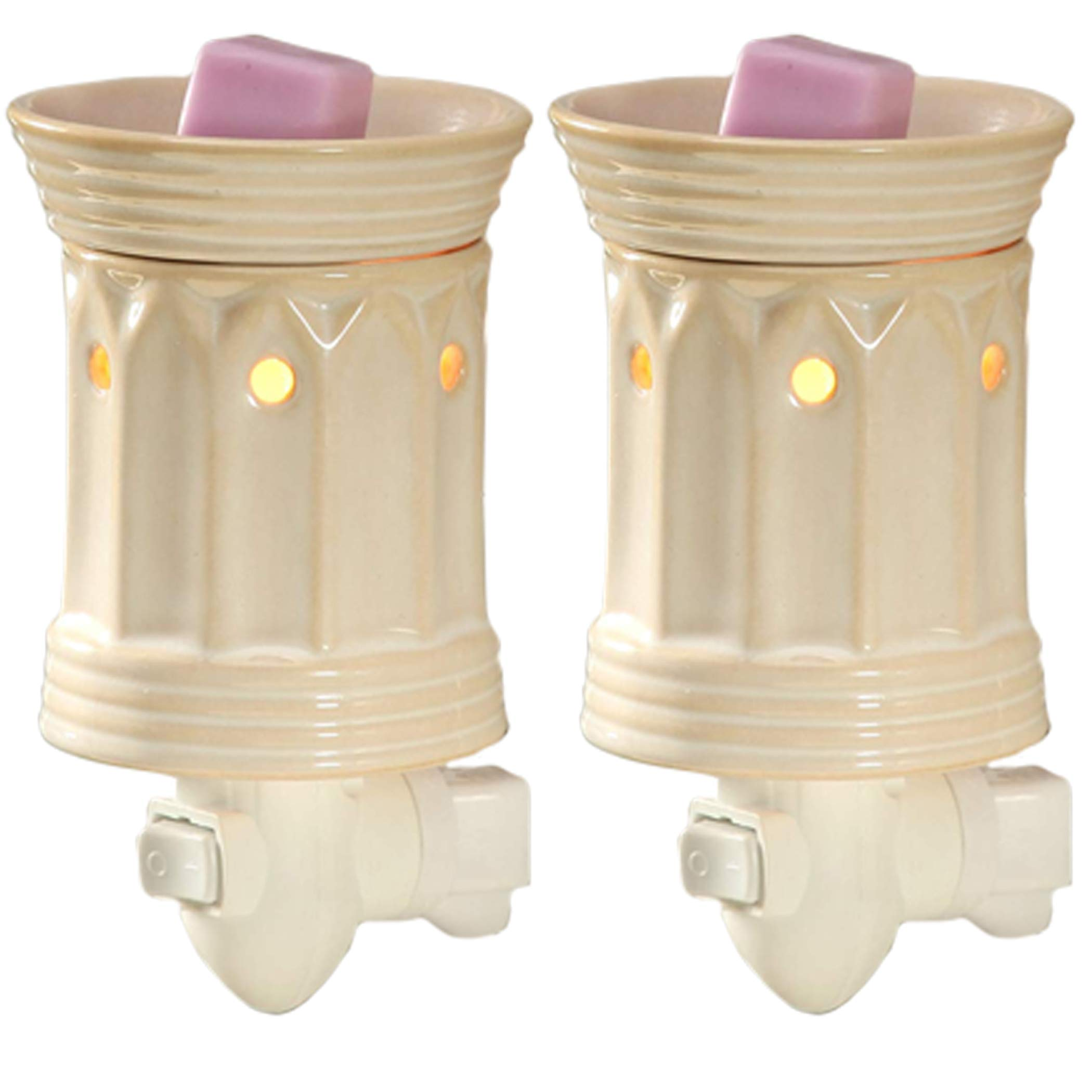 Hosley Set of 2 Cream Ceramic Electric Wax Warmer 5.3 Inch High. Ideal Gift for Wedding Spa and Aromatherapy. Use Brand Wax Melts Cubes Essential Oils and Fragrance Oils. W1