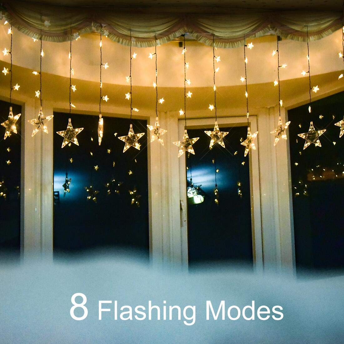 YoyoKit Curtain String Lights, 7ft 120 LED Stars Window Curtain Light with 8 Flashing Modes for Christmas, Wedding, Party, Home, Patio