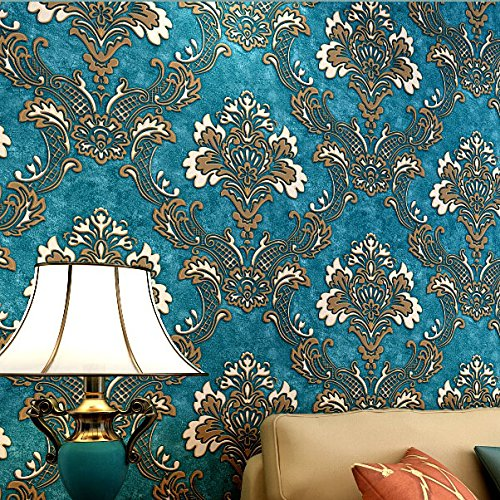 HaokHome 1014 Luxury Damask Flocking Textured Wallpaper R...