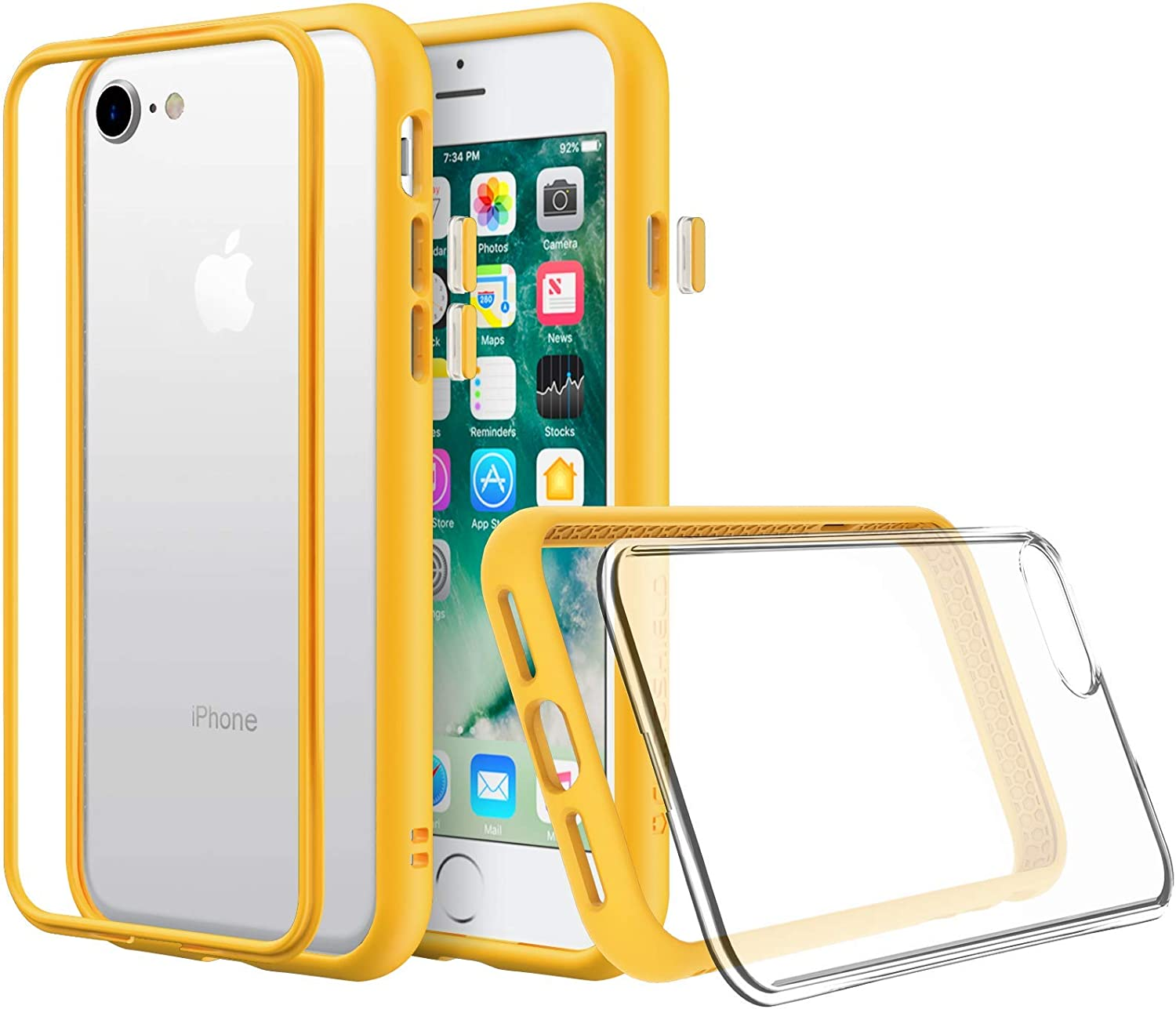 Amazon Com Rhinoshield Modular Case Compatible With Iphone Xs Max Mod Nx Customizable Shock Absorbent Heavy Duty Protective Cover Shockproof Yellow Bumper With Clear Back