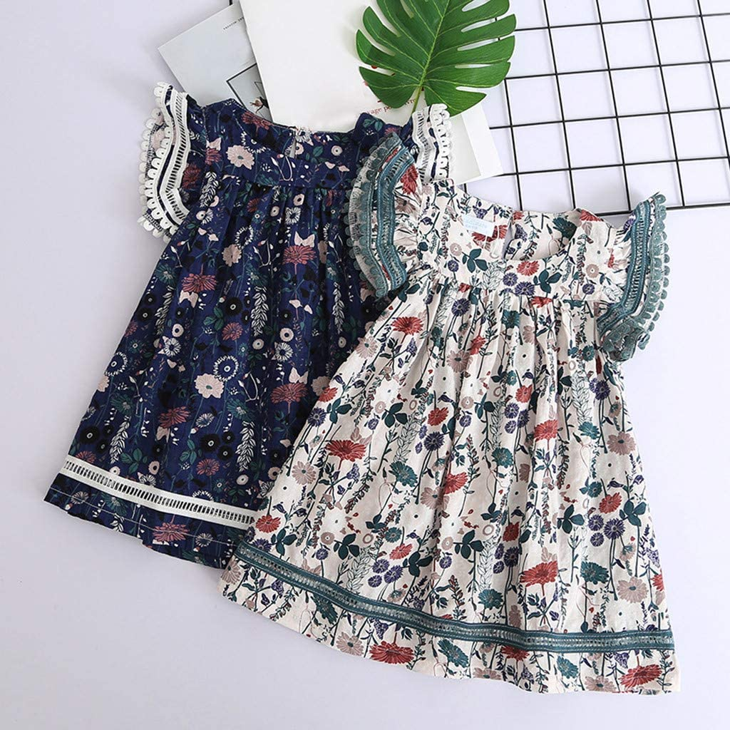 Boho Floral Printed Lace Pleated A-line Sundress BSGSH Toddler Girls Dresses 2-8 Years
