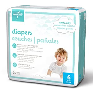 Medline MBD2006Z Baby Diapers, Size 6, 35+ lb. (Pack of 25)