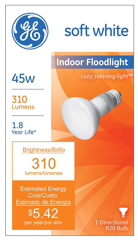 2-Pack GE Lighting 18279 45-Watt 310-Lumen R20 Indoor Flood Light Bulb Soft White