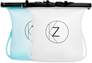 2 Pack Large Reusable Silicone Food Storage Bag (33 oz)| Green BPA-free Leakproof Freezer, Microwave & Dishwasher Safe w Sealing clips for Sandwich, Soups, Milk, Snacks, Fruits, Breakfast, Lunch