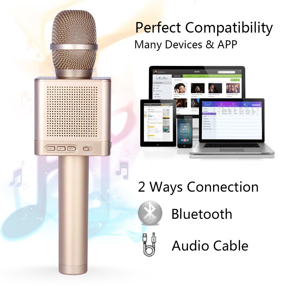 Karaok/é MIC Machine pour la maison KTV Micgeek Q10S poche amovible lecteur de karaok/é avec quatre haut-parleurs sans fil Karaok/é microphone avec fonction daccompagnemen