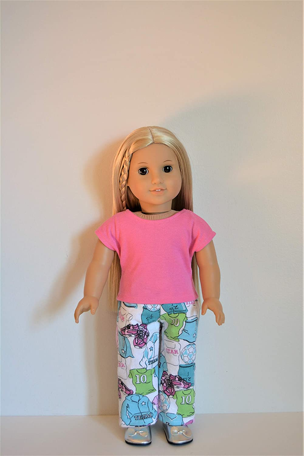 Handmade Doll Clothes Pajamas Top and Pants fit 18 American Girl or Boy Dolls Christmas F
