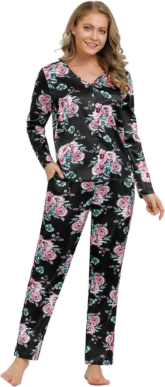 Zexxxy Set Pigiama da Donna in Raso Pigiama Seta Camicia+Pantaloni Pigiama Donna per Ogni Stagioni