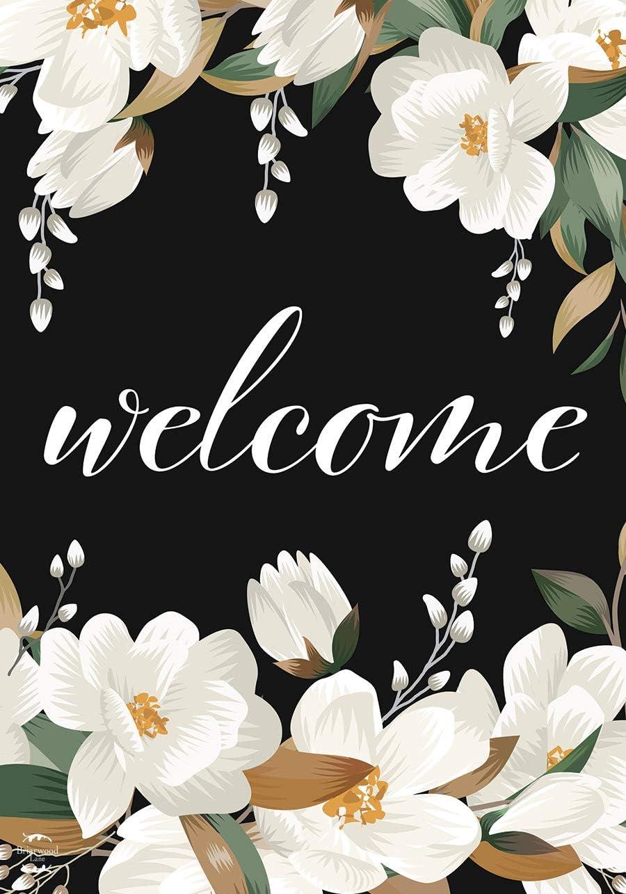 """Briarwood Lane White Magnolias Spring Garden Flag Welcome Flowers 12.5"""" x 18"""""""