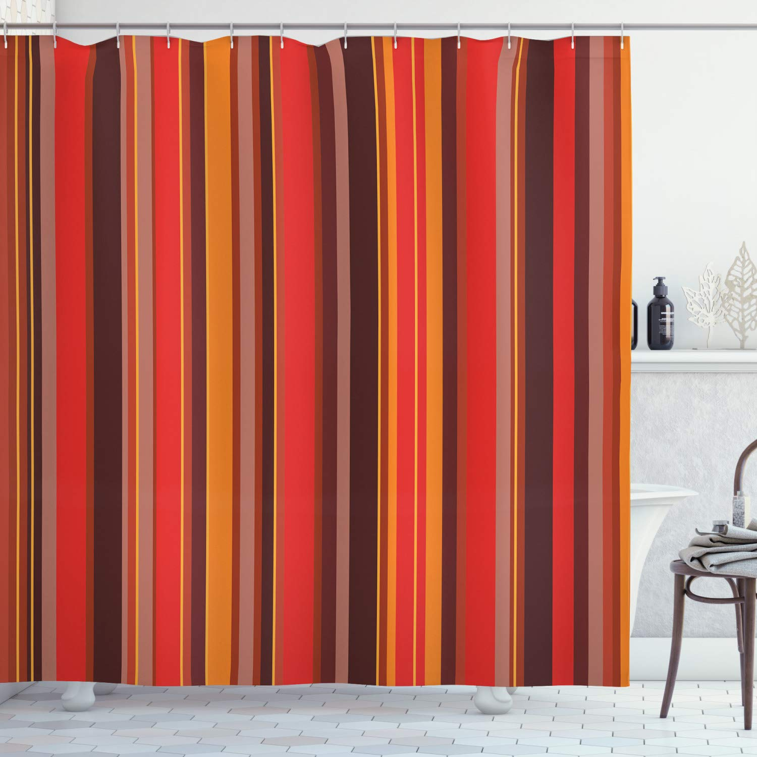 Multicolor Lunarable Striped Shower Curtain 84 Inches Extra Long Colorful Vertical Stripes Geometric Arrangement Abstract Ornamental Line Desgin Fabric Bathroom Decor Set with Hooks