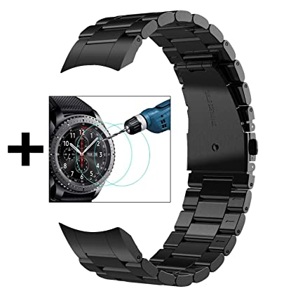 V-MORO No Gaps Strap Compatible with Gear S3 Frontier Bands/Galaxy Watch 46mm Band Men with Clips and Screen Protectors Black Metal Stainless Steel ...