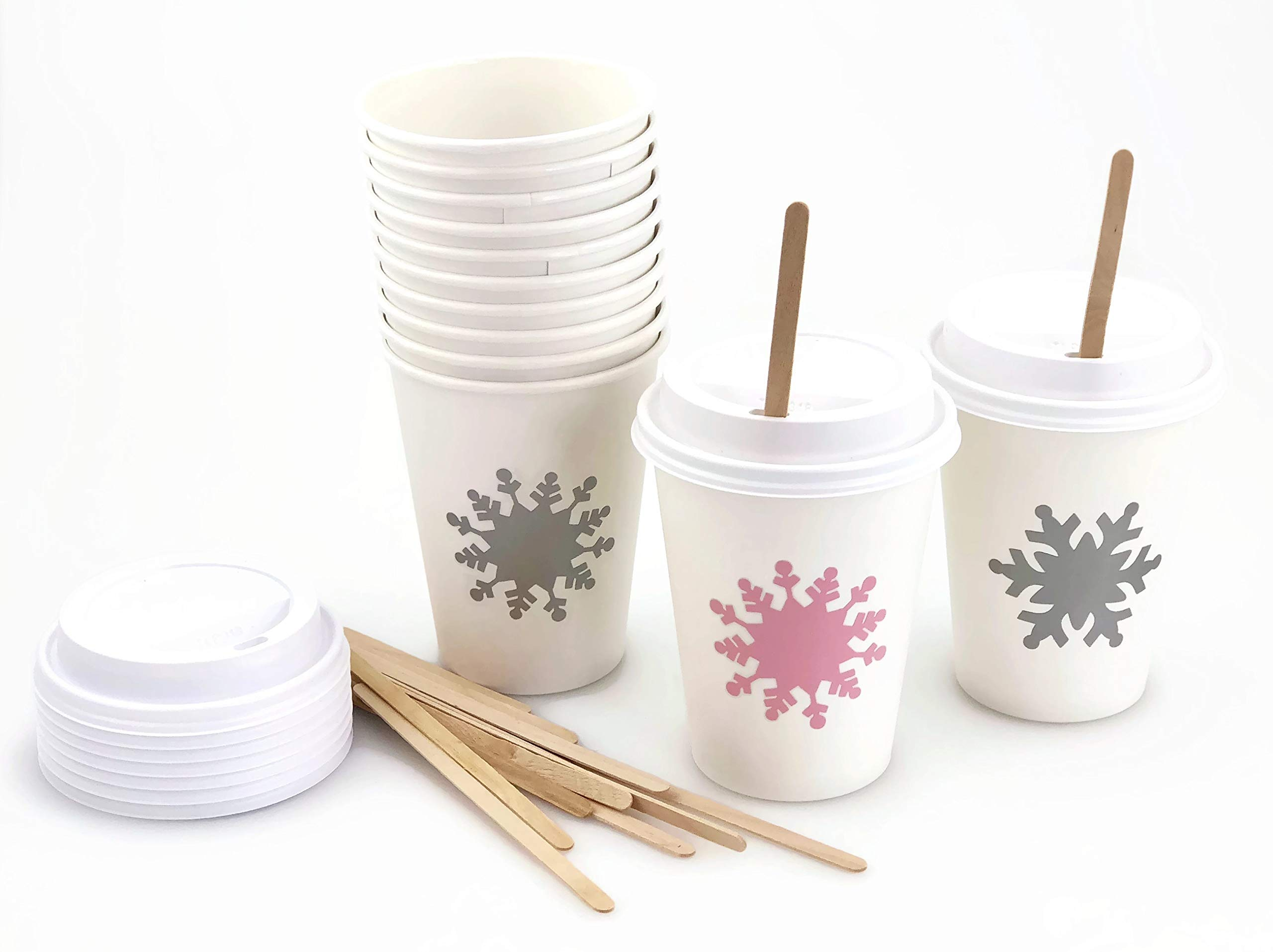 Pink Snowflake Paper Cups - 12 Set Baby Shower Birthday Party Supplies by Stesha Party