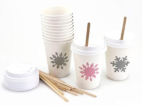 Amazon.com: Vasos de papel de copo de nieve rosa, 12 ...