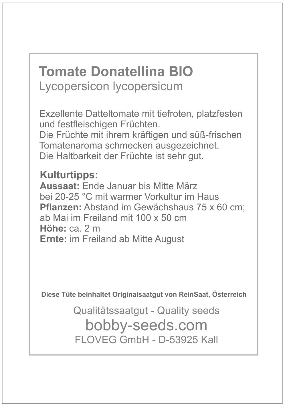 Bobby-Seeds BIO-Tomatensamen Donatellina Portion