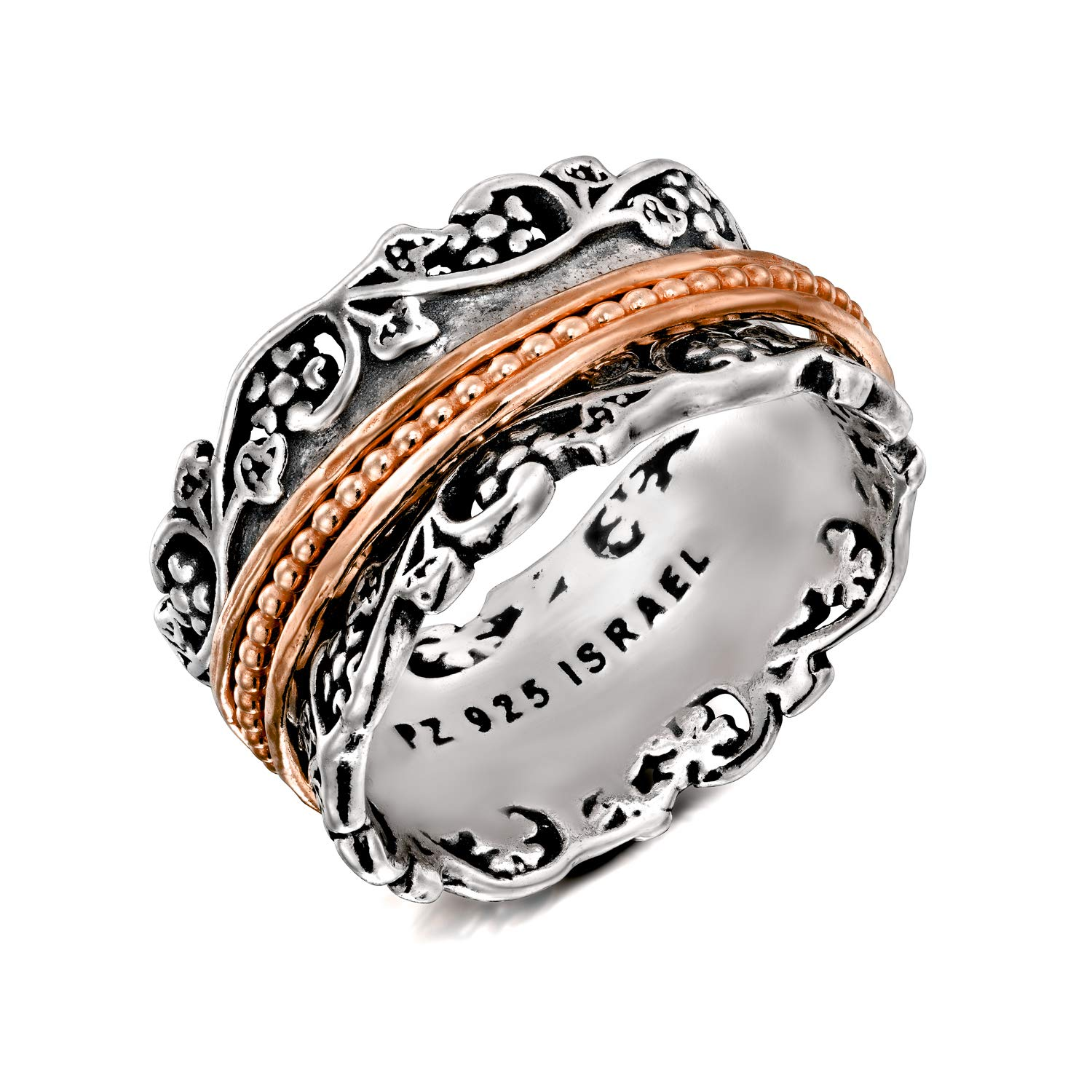 Paz Creations .925 Sterling Silver and Rose Gold Over Silver Spinner Ring (9), Made in Israel by PZ (Image #3)