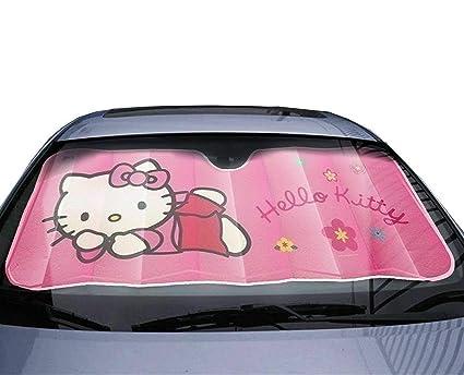 MFEIR Hello Kitty Pink Parasol Protector Solar para la Parabrisa Delantera del Coche Cubierta Protectora contra Rayos Ultravioletas para el Veh/ículo en Verano
