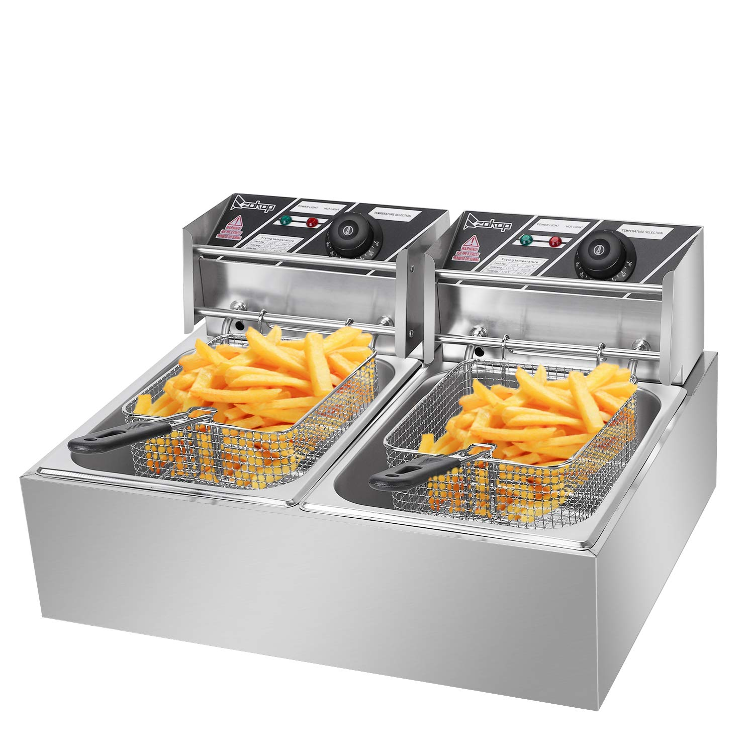 ALDKitchen Deep Fryer Stainless Steel Double Cylinder Electric Fryer w/Fry Basket for Commercial Restaurant, Countertop, Kitchen w/adjustable Temperature (Dual Tanks)