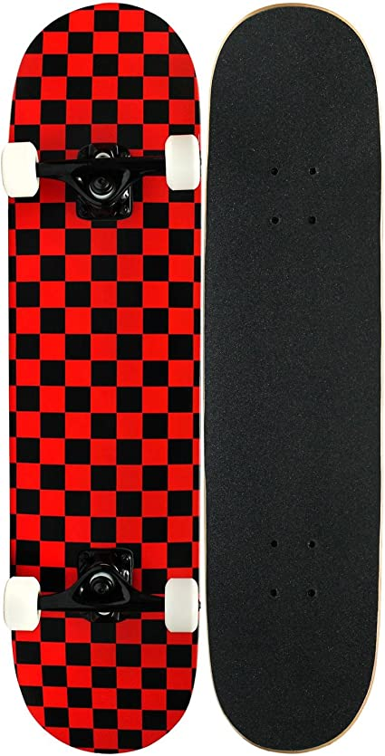 Skateboard Deck TEX green blk checker 7,5