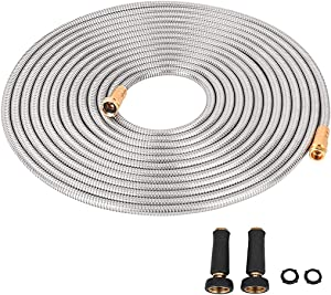 Cromtac Stainless Steel Garden Hose 304 Wide Diameter for Optimal Water Pressure-Ultra Durable with Solid Metal Portable & Lightweight Kink-Free (75)