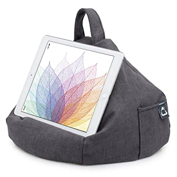 iPad Pillow & Tablet Stand - Securely Holds Any Size Tablet, eReader or Book Upto 12.9 inches, Hands Free Comfort at Any Angle on Any Surface - Slate ...
