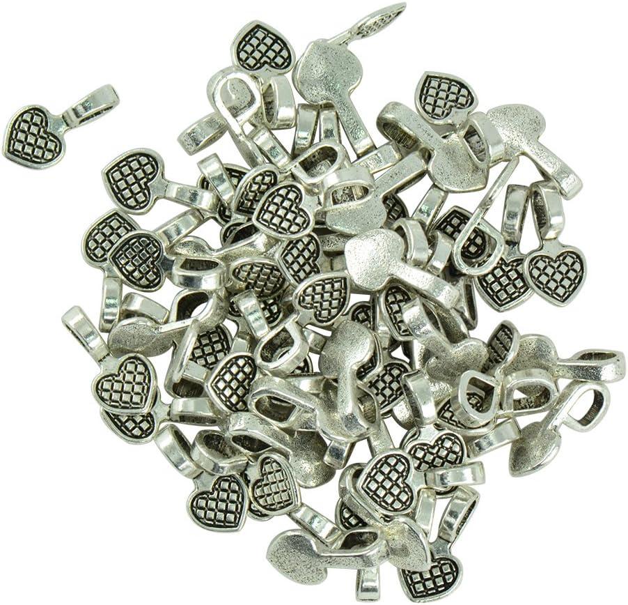 100pcs Glue on Bails Pendant Hanger Tibetan Silver Alloy Heart Shape 16x8mm