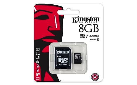 Kingston SDC10G2/8GB - Tarjeta microSD de 8GB (Clase 10 UHS-I 45MB ...
