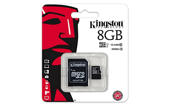 Kingston Digital 8GB microSDHC Class 10 UHS-I 45MB/s Read Card with SD Adapter (SDC10G2/8GB)