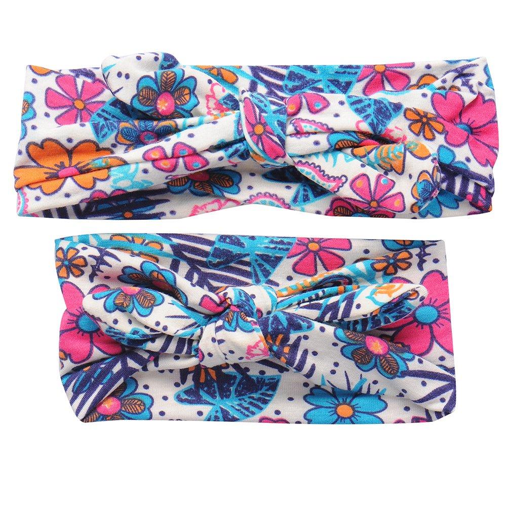 Bébé et Maman Floral bowknot Bandeau élastique Set Filles Femmes Hairband Headwear chendongdong