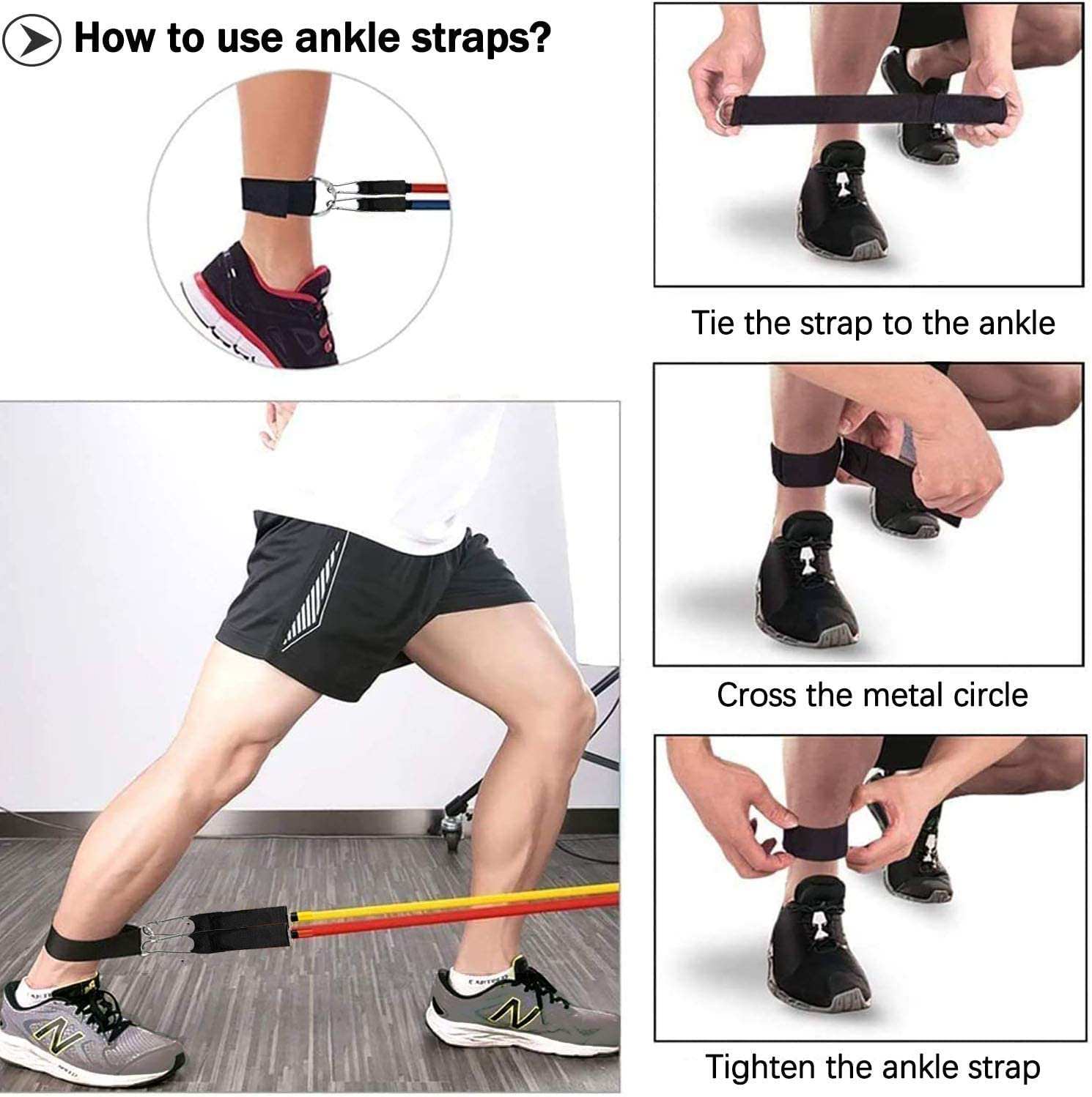 Legs Ankle Straps Perfect Muscle Builder for Arms Glutes Toky Resistance Bands Set Back Chest Handles Waterproof Carry Bag Leg Workout Bands Set 11 Pieces with Door Anchor Belly