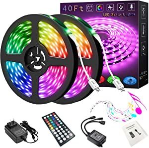 LED Strip Lights, 2 Rolls of 40ft Music Sync Color Changing 5050 RGB LED Lights Strips Built-in Mic with 44 Keys Remote Controller and 12v Power Supply for Bedroom Party TV and Home Decoration