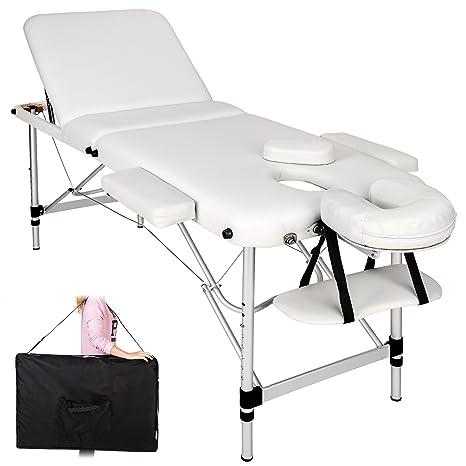 tectake Mobile Aluminium Massageliege 3 Zonen höhenverstellbar inkl. hochwertiger Alu-Kunststoffkopfstütze + Tasche - diverse