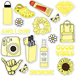 ANERZA VSCO Stickers for Hydro Flask, Light Yellow Vinyl Waterproof Water Bottle Stickers for Hydroflasks, Laptop, Phone, Cute Trendy Aesthetic Stickers for Teens, Girls, VSCO Girl Stuff