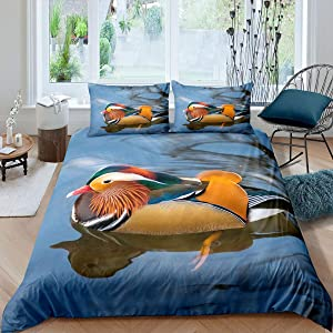 Castle Fairy Beautiful Mandarin Duck Print Duvet Cover Teens Youngs 3D Colored Duck Swimming Bedding Sets Queen Microfiber Soft 3 Pieces Comforter Sets(1 Duvet Cover 2 Pillow Cases)