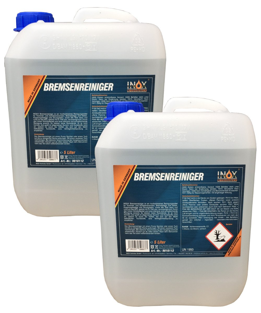 Inox freno limpiador 2 x 5 litros, acentonfrei –  Limpiador de freno para coche acentonfrei-Limpiador de freno para coche