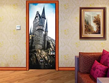 Hogwarts Harry Potter DOOR WRAP Decal Sticker Wall Mural Personalized NAME  D75, 200x80