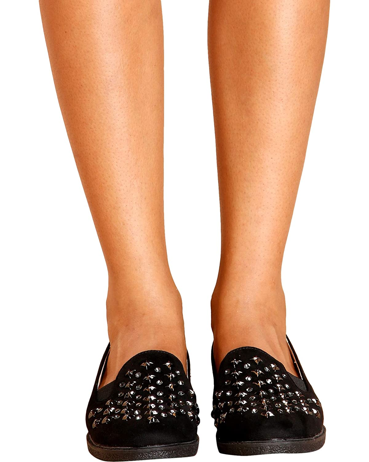 Black,Black,11 PAZZLE Womens Classy Studded Loafer