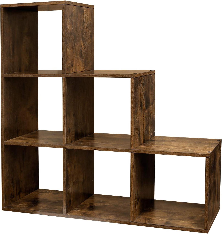 VASAGLE Estantería en Forma de Escalera, Estantería de Almacenamiento con 6 Cubos, de Madera, Ideal para Estudio, Sala de Estar y Dormitorio, Marrón ...