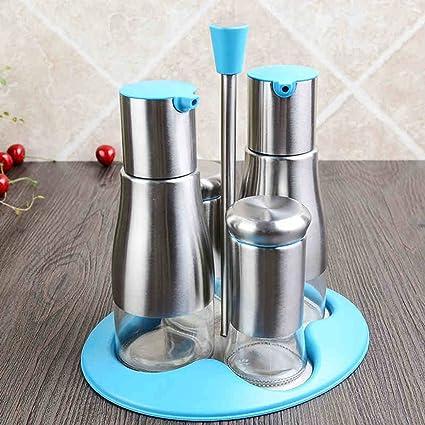ZXMTLP GRJH® Spice Jar Aceite vinagre Tanque, Acero Inoxidable Botellas de Vidrio Condiment Set