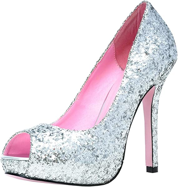 4c9dce0526ee7 Amazon.com | Ella Glitter Pumps Adult Shoes Silver - Size 6 | Pumps