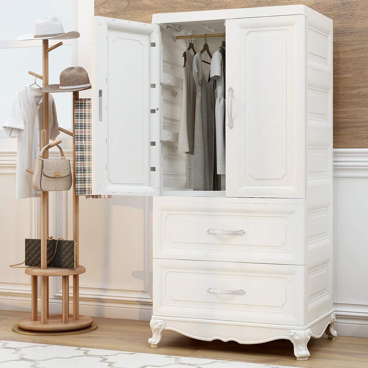 Nafenai Armoire Wardrobe Closet, 2-Door Cabinet Armoire with 2-Drawers, 2-Shelves and Clothing Hanging Rod, White