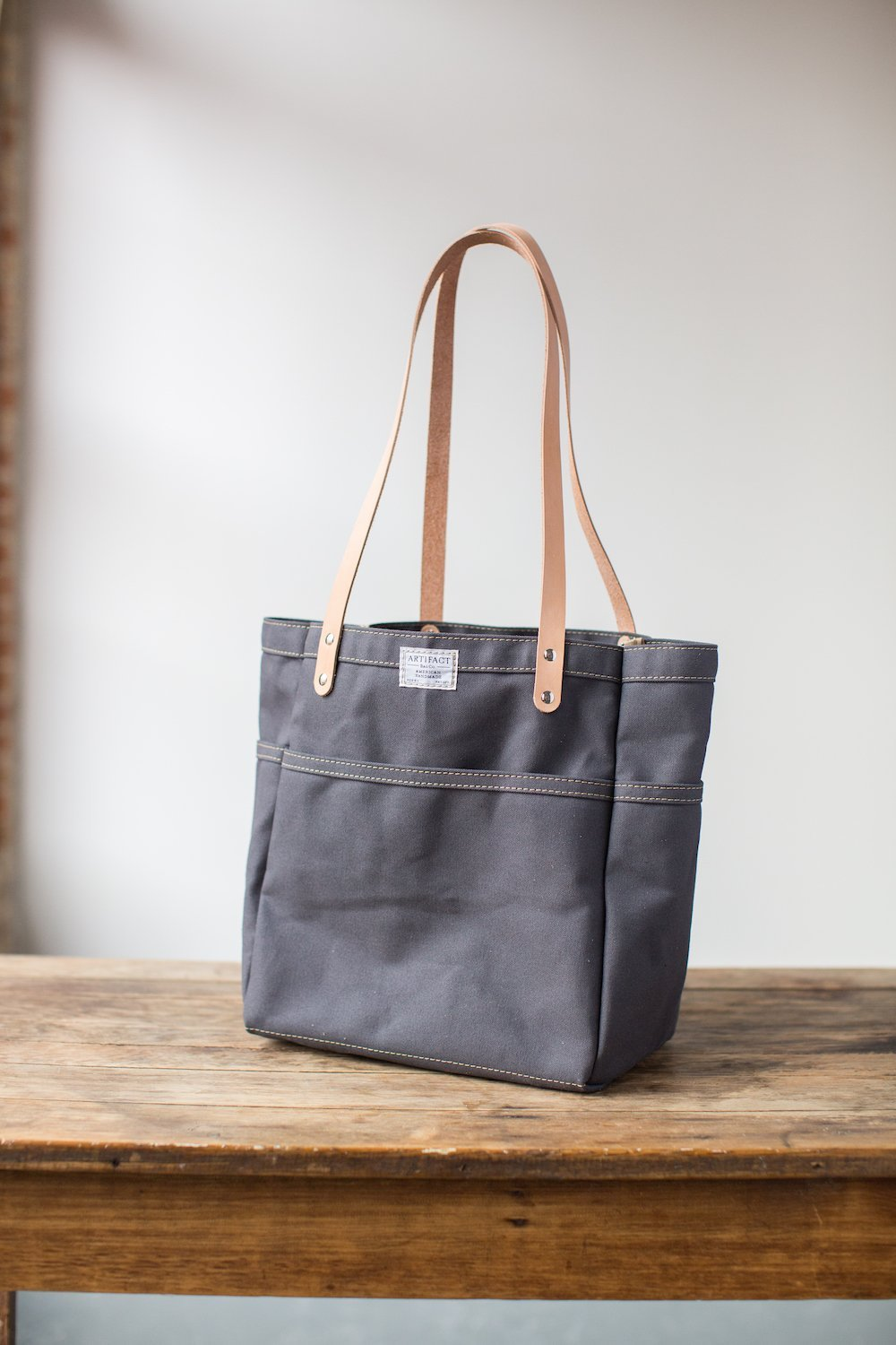 Canvas Campus Tote in Slate Canvas - Made in USA