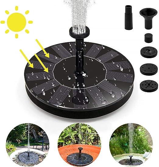 Bomba Fuente Solar, 7V 1.4W Bomba de Agua Solar, Fuente de agua solar con 4 boquillas Fuente Solar Jardín, panel solar flotante Bomba de fuente solar para fuente, piscina, estanque, decoración de