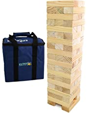 Jumbo Hi-Tower in a Bag, builds from 0.6metres upto 1.5metres in play, Solid Pine Wood Tumble Tower Game Giant Garden Game