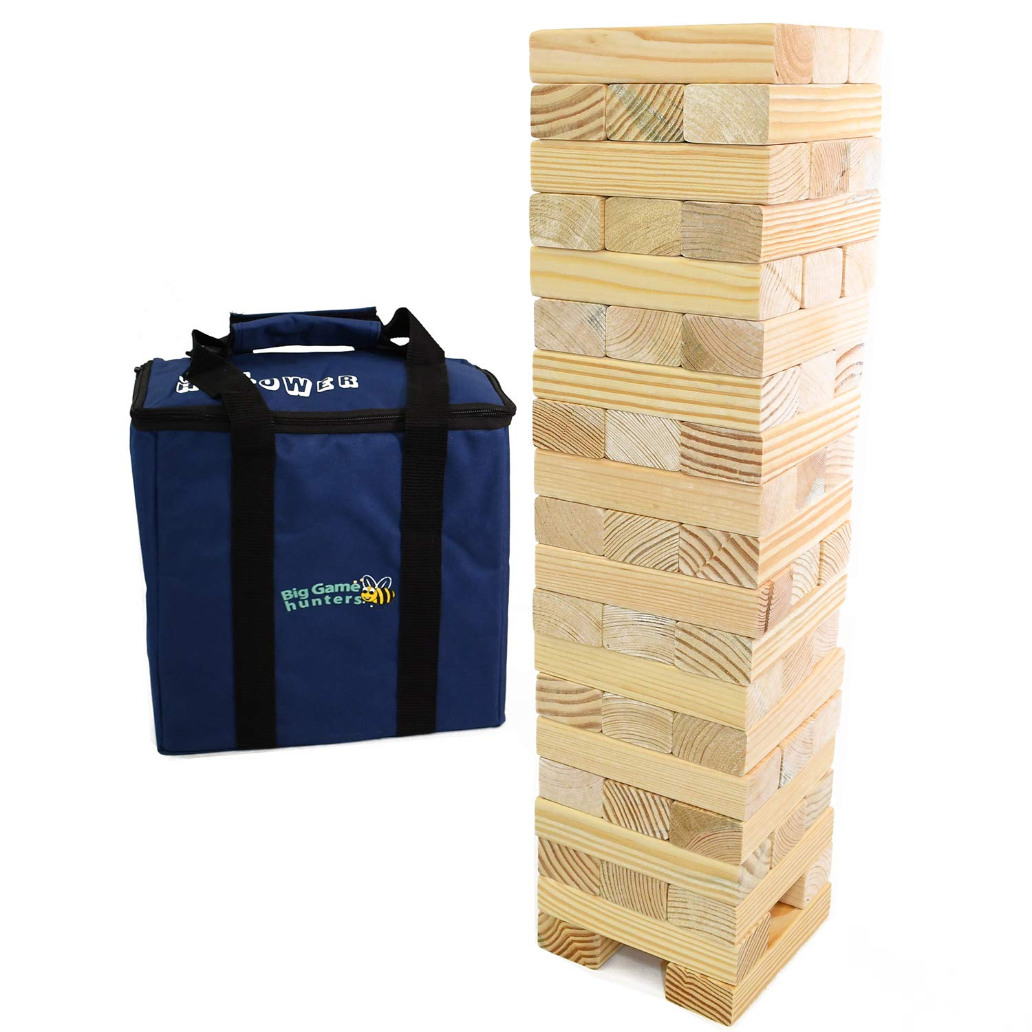 Solid Pine Wood Tumble Tower Game Giant Garden Game Jumbo Hi-Tower in a Bag Builds from 0.6 Metres up to 1.5 Metres High in Play