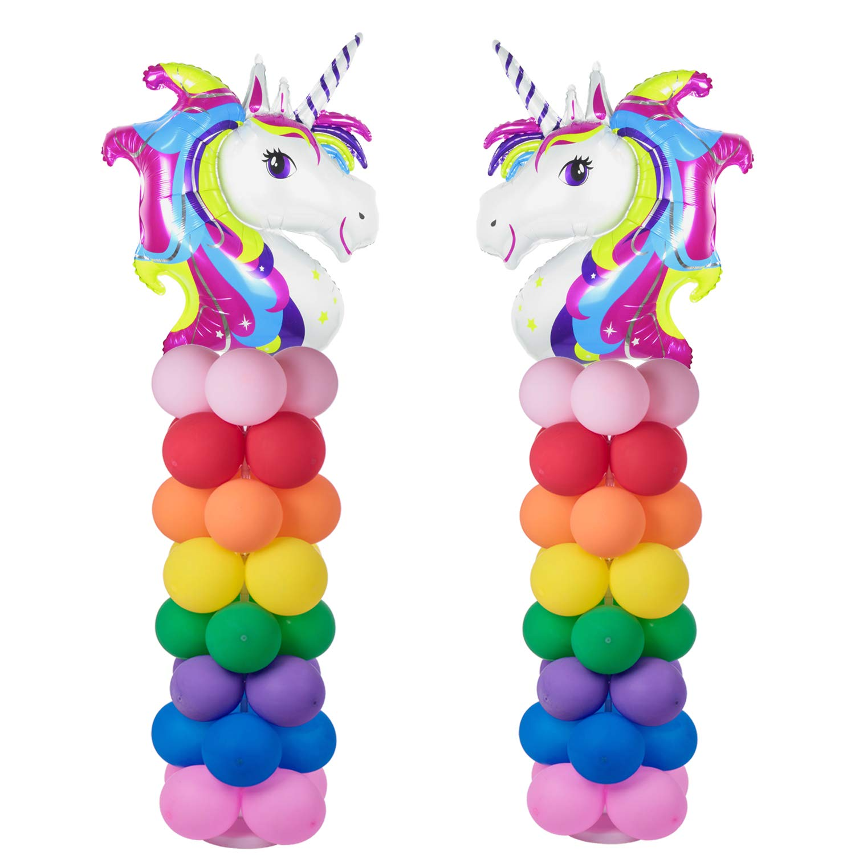 Rainbow Unicorn Balloon Arch Kit 2 Sets 80'' Height With 66pcs Latex Balloon DIY