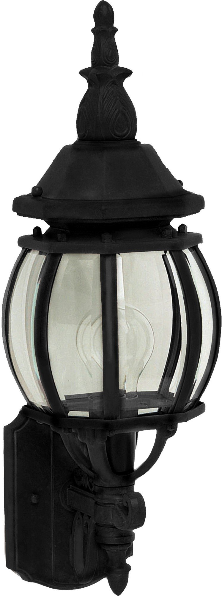 Maxim 1032BK Crown Hill 1-Light Outdoor Wall Lantern, Black Finish, Clear Glass, MB Incandescent Incandescent Bulb , 100W Max., Dry Safety Rating, Standard Dimmable, Glass Shade Material, 5750 Rated Lumens