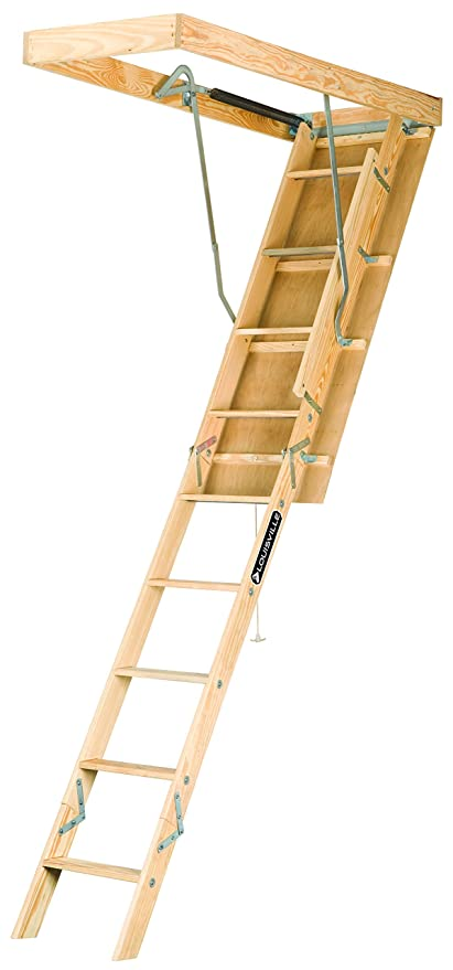 Louisville Ladder S254P 250 Pound Duty Rating Wooden Attic Ladder Fits  7 Foot To