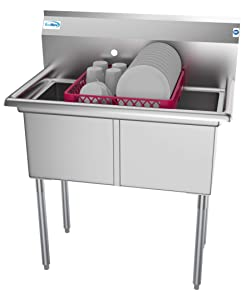 KoolMore 2 Compartment Stainless Steel NSF Commercial Kitchen Prep & Utility Sink - Bowl Size 15 x 15 x 12